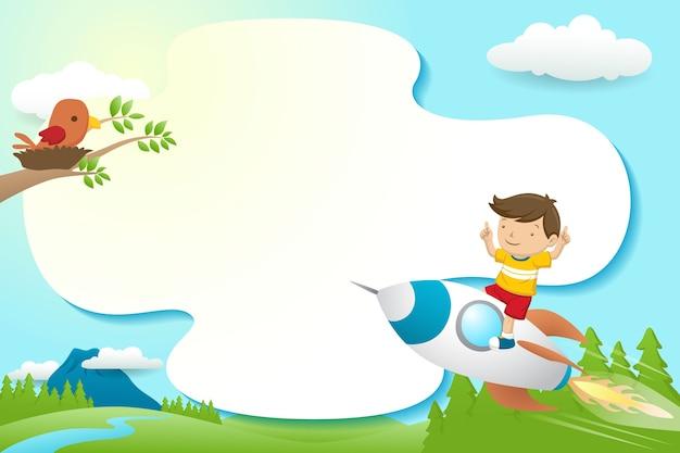 Szablon ramki kreskówka z chłopcem na rakiecie z ptakiem w gnieździe na gałęziach drzew