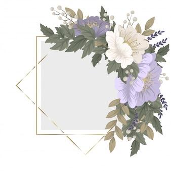 Szablon ramki kwiatowej - niebieskie kwiaty