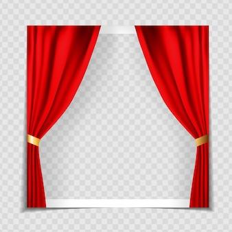 Szablon ramki na zdjęcia czerwone zasłony kina