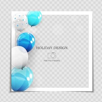 Szablon ramki na zdjęcia świąteczne z balonami dla postu w sieci społecznościowej.