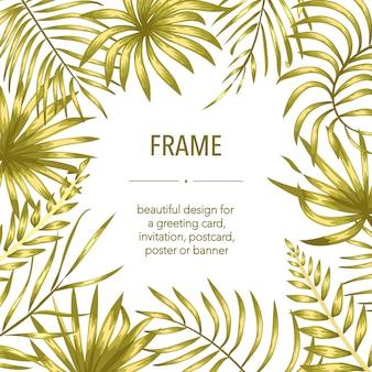 Szablon ramki wektor ze złotymi tropikalnymi liśćmi i kwiatami z białym miejscem na tekst. karta układu kwadratowego z miejscem na tekst. jesienny projekt na zaproszenie, wesele