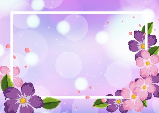 Szablon ramki z fioletowymi kwiatami