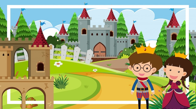 Szablon ramki z księciem i księżniczką przy wieży zamkowej