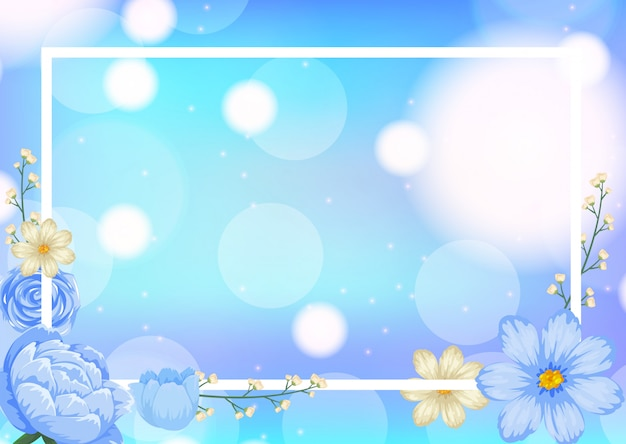Szablon ramki z niebieskimi kwiatami