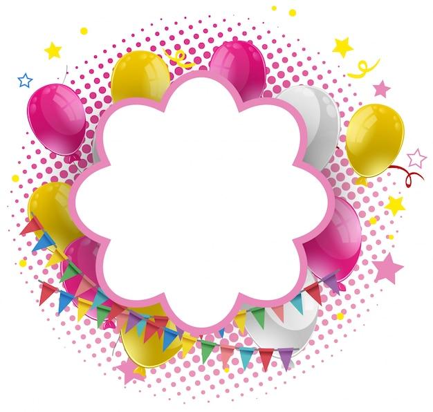 Szablon ramki z różowymi i żółtymi balonami