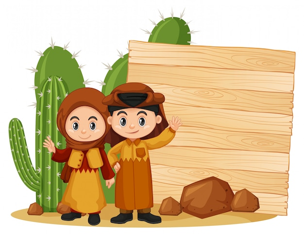 Szablon ramki z szczęśliwym dzieckiem i kaktusa