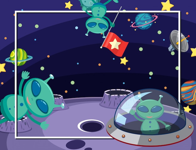 Szablon ramki z wielu planet w tle miejsca
