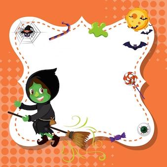 Szablon ramki z zieloną czarownicą