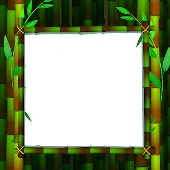 Szablon ramki z zielonym bambusem