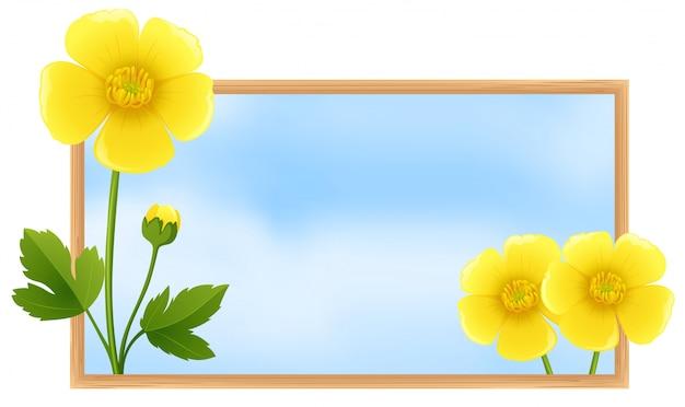 Szablon ramki z żółtym kwiaty buttercup