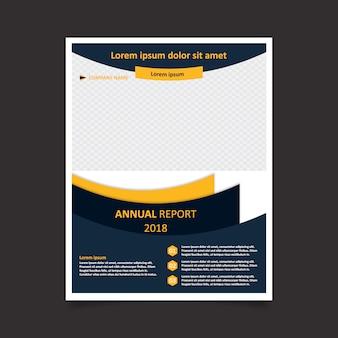 Szablon raportu rocznego na żółto i niebieski