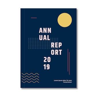 Szablon raportu rocznego z abstrakcyjnym efektem księżyca i memphis