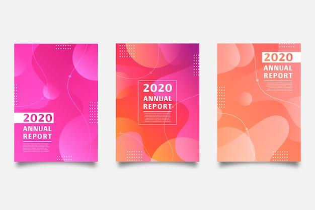 Szablon raportu rocznego z kolorowym wzorem