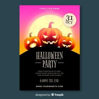 Szablon realistyczne plakat party halloween