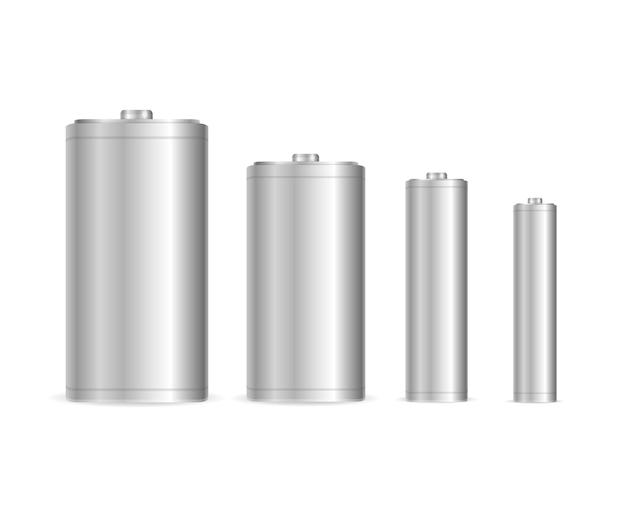 Szablon realistycznego zestawu baterii stalowych pusty.