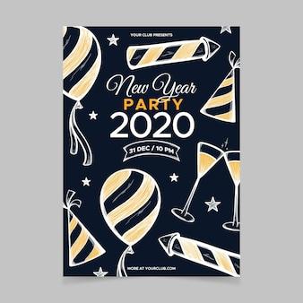 Szablon ręcznie rysowane nowy rok party ulotki
