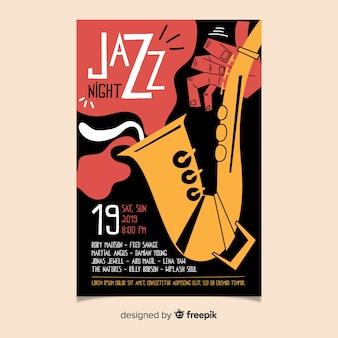 Szablon ręcznie rysowane streszczenie jazzowy plakat