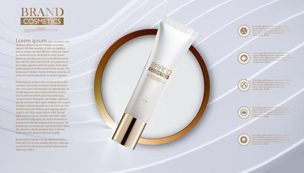 Szablon reklam kosmetycznych. produkt kosmetyczny w złotym kółku z streszczenie tło. .