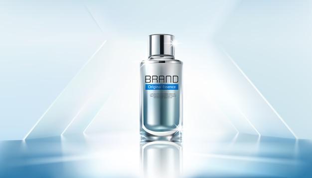 Szablon reklam kosmetycznych, szklana butelka z kropelkami z falistym światłem. ilustracja 3d.