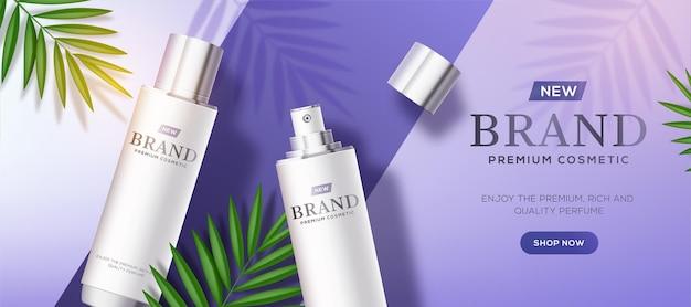 Szablon reklam kosmetycznych z białymi butelkami na fioletowym tle
