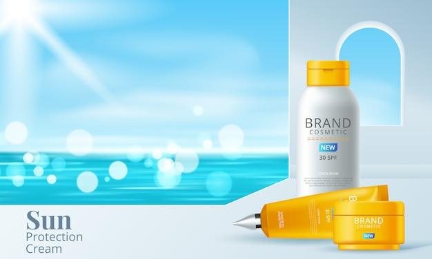 Szablon reklam kremów przeciwsłonecznych, projektowanie produktów kosmetycznych do ochrony przeciwsłonecznej