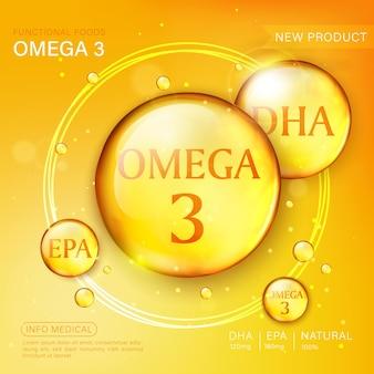 Szablon reklam oleju rybnego, kapsułka omega-3 z opakowaniem. tło głębinowych.