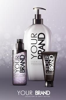 Szablon reklam realistycznej pielęgnacji skóry