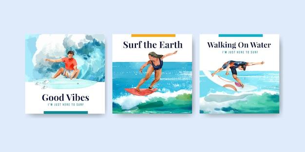 Szablon reklam z deskami surfingowymi na plaży