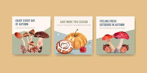 Szablon reklam z jesiennym codziennym projektem akwareli reklamowych i marketingowych