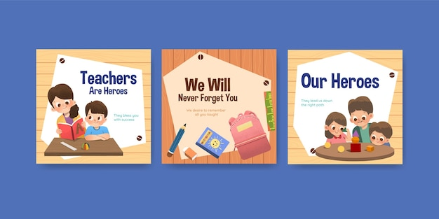 Szablon reklam z koncepcją dnia nauczyciela