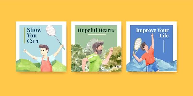 Szablon reklam z koncepcją światowego dnia zdrowia psychicznego do reklamy i marketingu akwareli