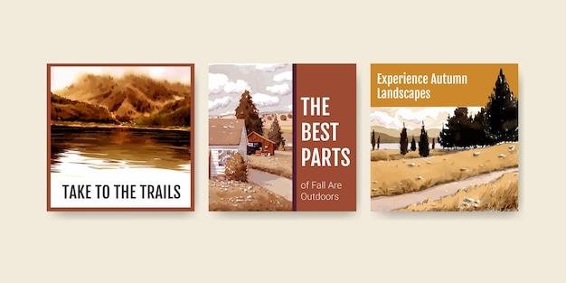 Szablon reklam z krajobrazem w jesiennym designie na post na instagramie