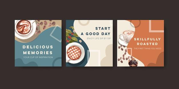 Szablon reklam z międzynarodowym projektem koncepcyjnym dnia kawy do reklamy i marketingu akwareli