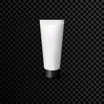 Szablon reklamowy tuby z tworzywa sztucznego na przezroczystym tle