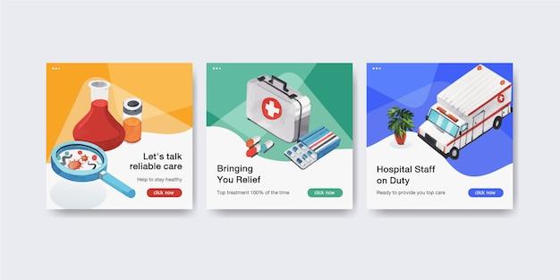 Szablon reklamowy z opieką zdrowotną i szpitalem