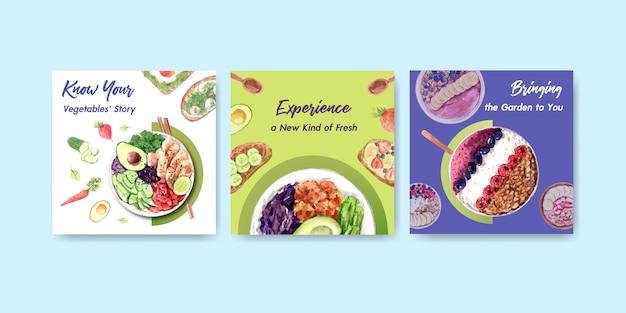 Szablon reklamowy z projektem zdrowej i ekologicznej żywności