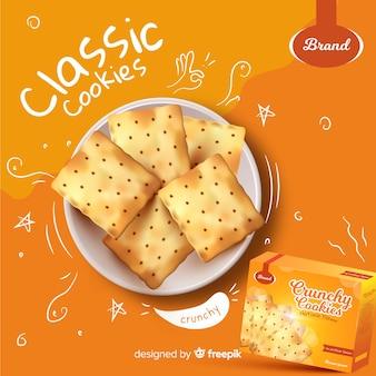 Szablon reklamy dla plików cookie z doodles