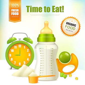 Szablon reklamy ekologicznej żywności dla niemowląt