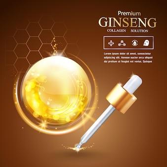 Szablon reklamy lub promocji kropli serum z kolagenem żeń-szenia i witamin dla produktów kosmetycznych do pielęgnacji skóry
