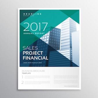 Szablon reklamy minimalne układ broszury ulotki z niebieskimi geometrycznymi kształtami i budynku