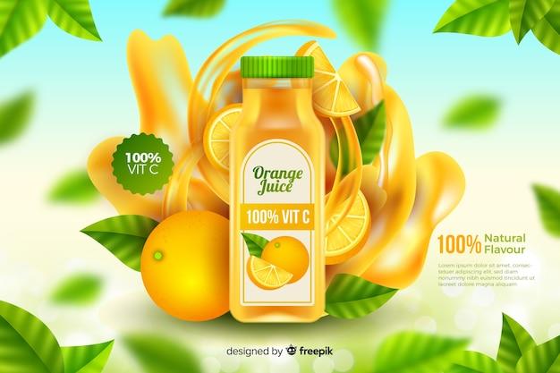 Szablon reklamy naturalnego soku