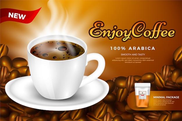 Szablon reklamy picia kawy