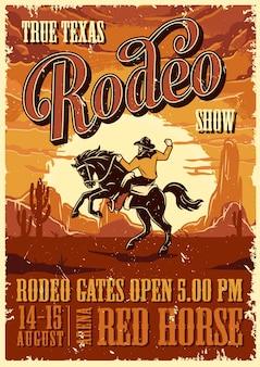 Szablon reklamy plakat rodeo vintage