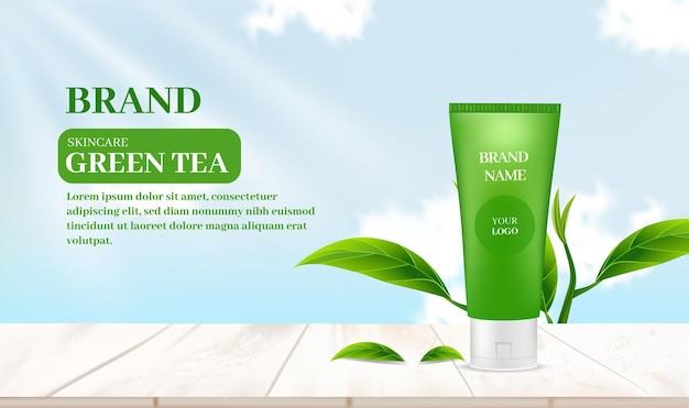Szablon reklamy produktu do pielęgnacji skóry z tłem zielonej herbaty i widokiem na niebo