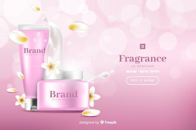 Szablon reklamy realistyczne sprzedaż piękna