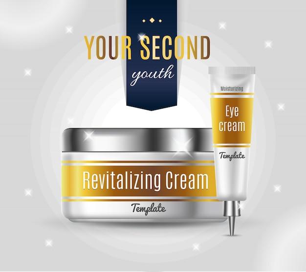 Szablon reklamy realistycznych produktów kosmetycznych