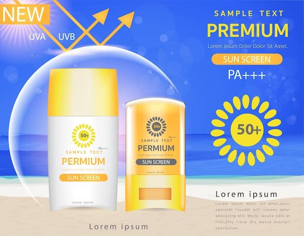 Szablon reklamy z filtrem przeciwsłonecznym, plastik z filtrem przeciwsłonecznym