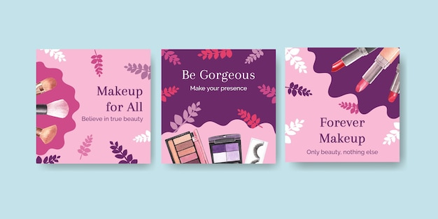 Szablon reklamy z koncepcją makijażu dla akwareli marketingowych i biznesowych.