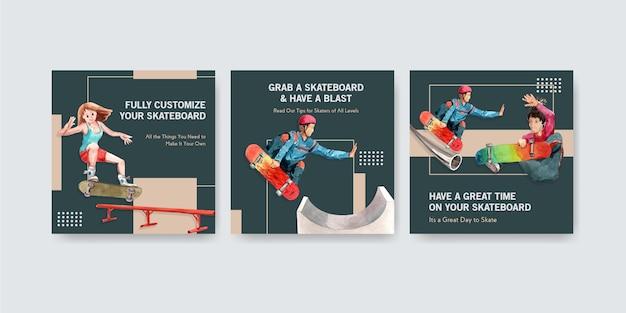 Szablon reklamy z koncepcją projektowania deskorolki do reklamy i ulotki ilustracji wektorowych akwarela.