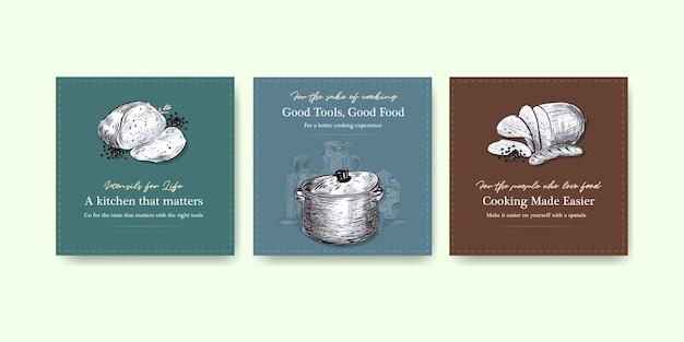 Szablon reklamy z koncepcją urządzeń kuchennych do reklamowania ilustracji wektorowych